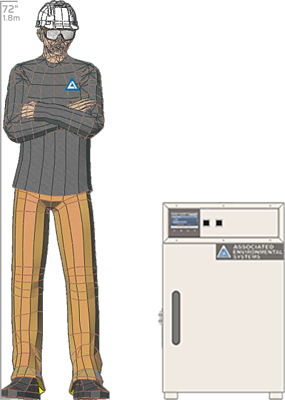 Illustration of man next to BD-902 for scale