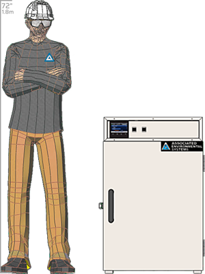 Illustration of man next to BD-104 for scale