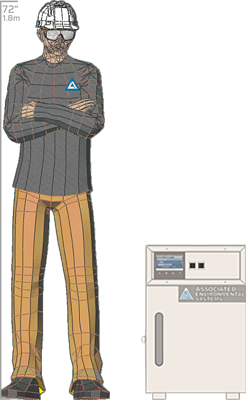 Illustration of man next to BD-900 for scale