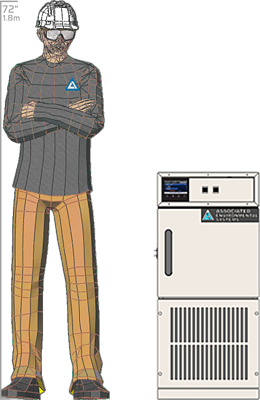 Illustration of man next to FD-501 for scale