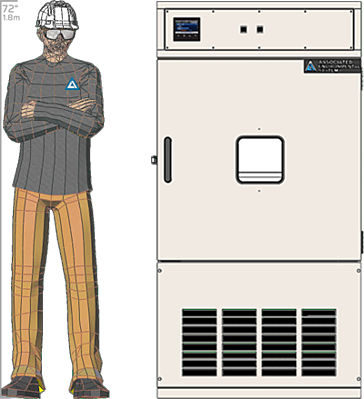 Illustration of man next to  for scale