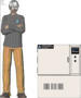 Illustration of man next to LH-1.5 for scale