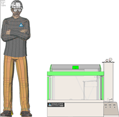 Illustration of man next to MX-9204 for scale