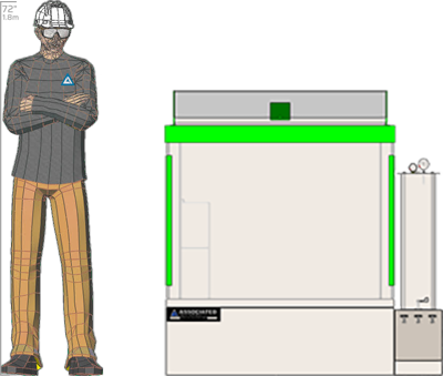 Illustration of man next to MX-9216 for scale