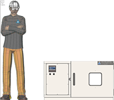 Illustration of man next to BHD-202 for scale