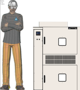 Illustration of man next to SM-2102T for scale