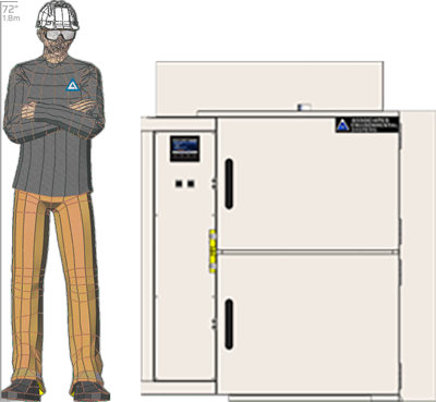 Illustration of man next to SM-2105D for scale