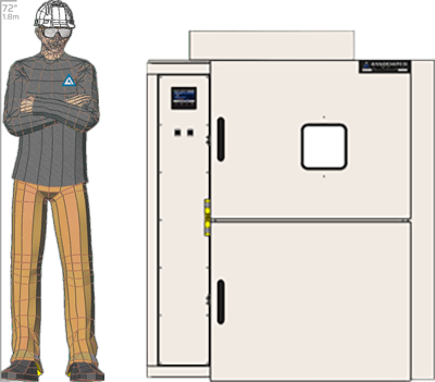 Illustration of man next to SM-2108D for scale
