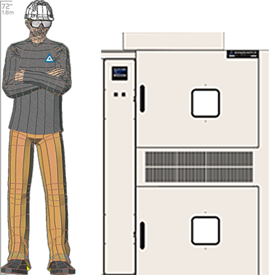 Illustration of man next to SM-2108T for scale