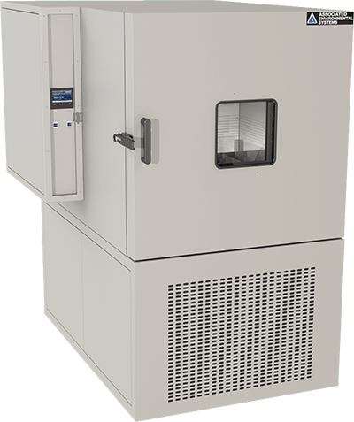 Floor-model 27 cubic foot workspace is temperature-only or temp and humidity test chamber by associated environmental systems