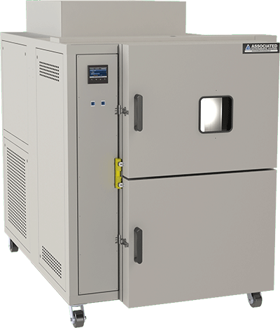 Automatically transfer test product from hot to cold and back with Associated Environmental Systems Thermal Shock Chamber