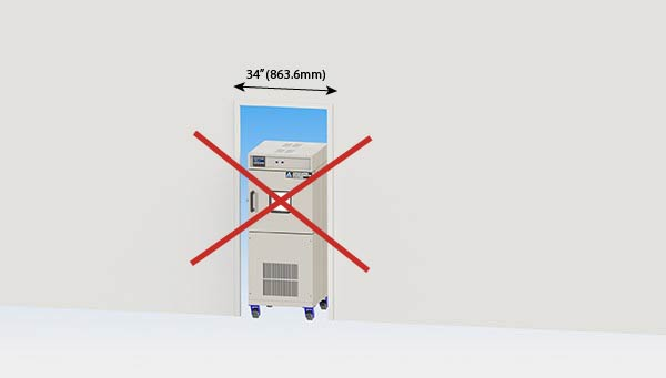 chamber cannot fit through standard doorway by associated environmental systems