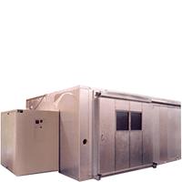 Walk-in test chamber with sliding door