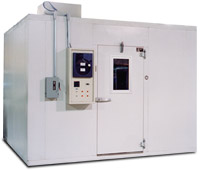 Walk-in test chamber with chart recorder