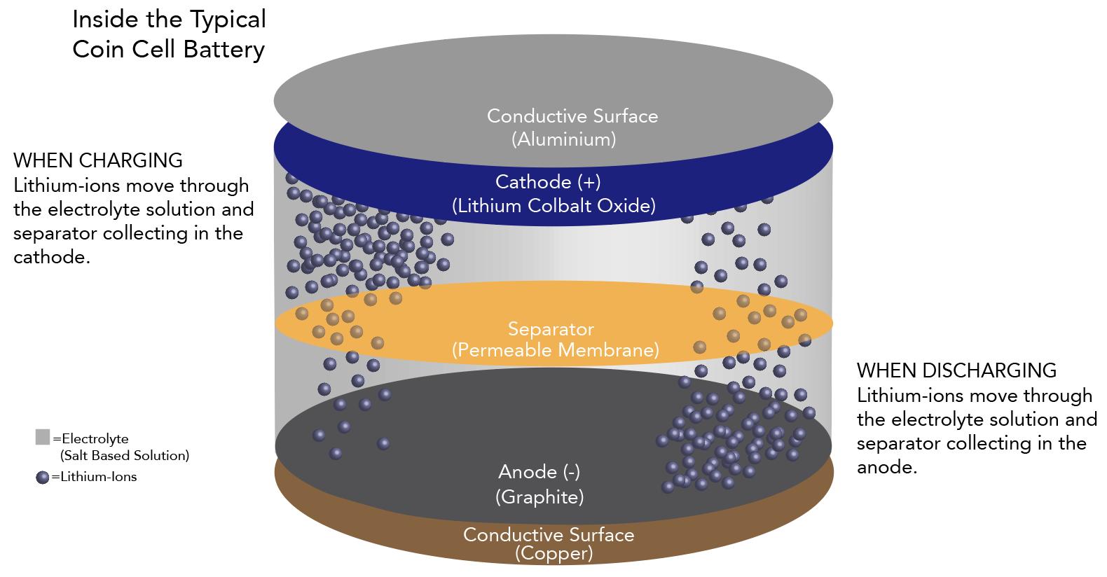 Inside coin cell battery