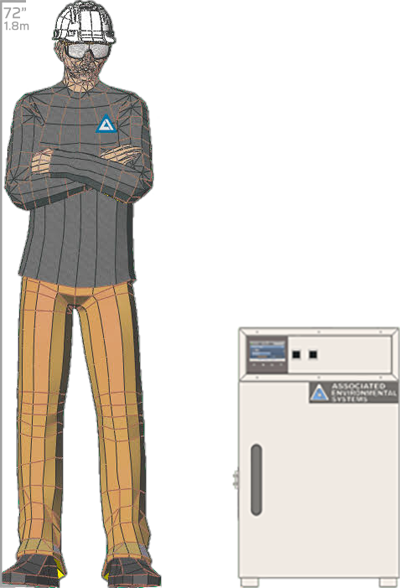 Illustration of man next to BD-901 for scale