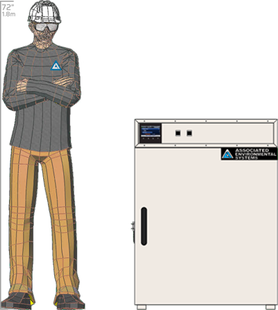 Illustration of man next to BD-908 for scale