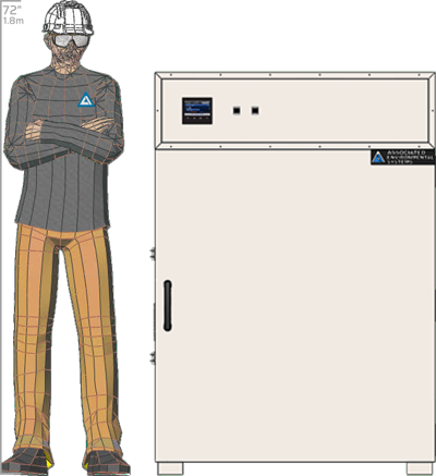 Illustration of man next to BD-927 for scale