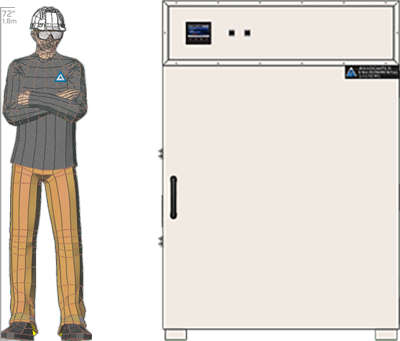 Illustration of man next to BD-964 for scale