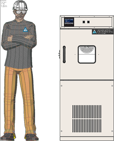 Illustration of man next to HD-202 for scale