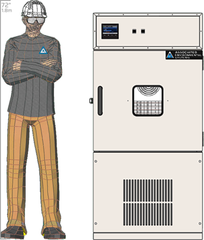 Illustration of man next to HD-205 for scale