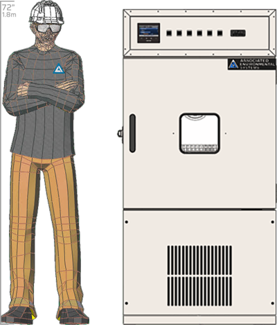 Illustration of man next to HD-208 for scale