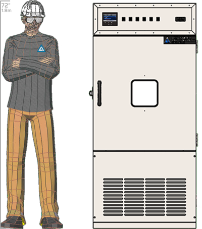 Illustration of man next to FD-510 for scale