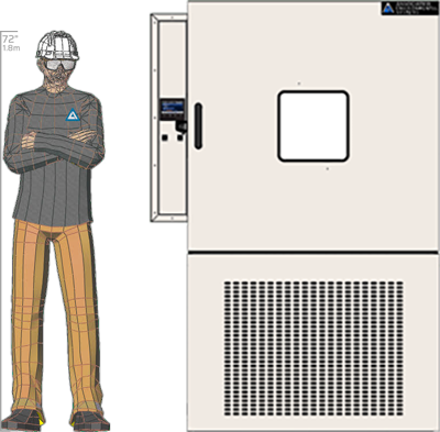 Illustration of man next to FD-527 for scale