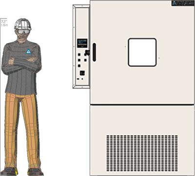 Illustration of man next to HD-232 for scale