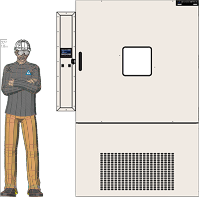 Illustration of man next to HD-249 for scale