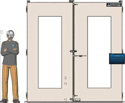 Illustration of man next to FDP-4264 for scale