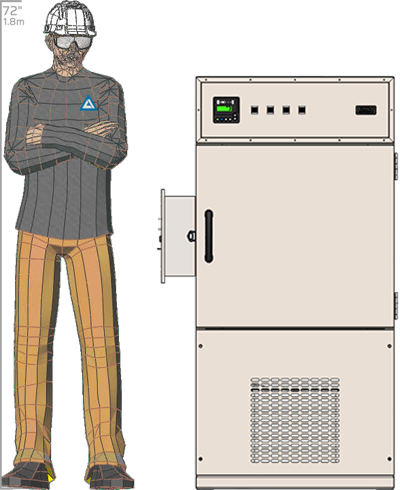 Illustration of man next to FDR-505 for scale