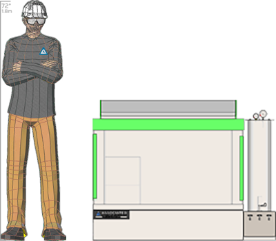 Illustration of man next to MX-9208 for scale
