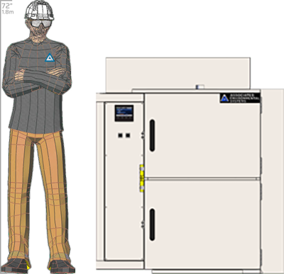 Illustration of man next to SM-2102D for scale