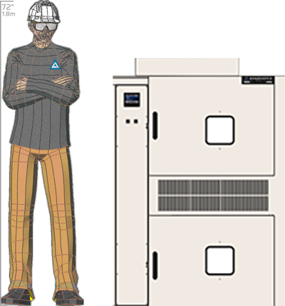 Illustration of man next to SM-2105T for scale