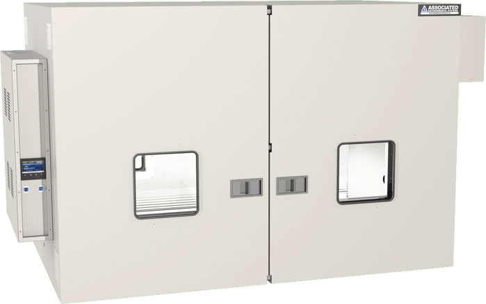 A lab oven with bi-parting doors